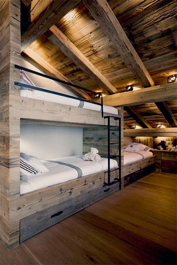 Dormitorio infantil moderno-rústico. Diseño de madera