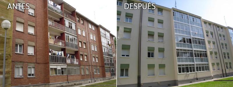 Antes y después de una rehabilitación de fachada